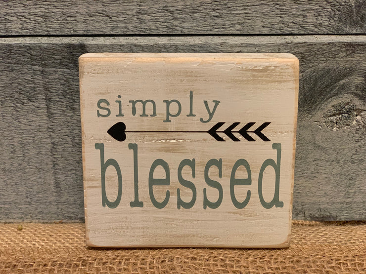 Simply blessed wood block sign