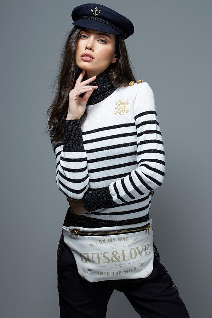 TURTLE NECK STRIPED LUREX JERSEY