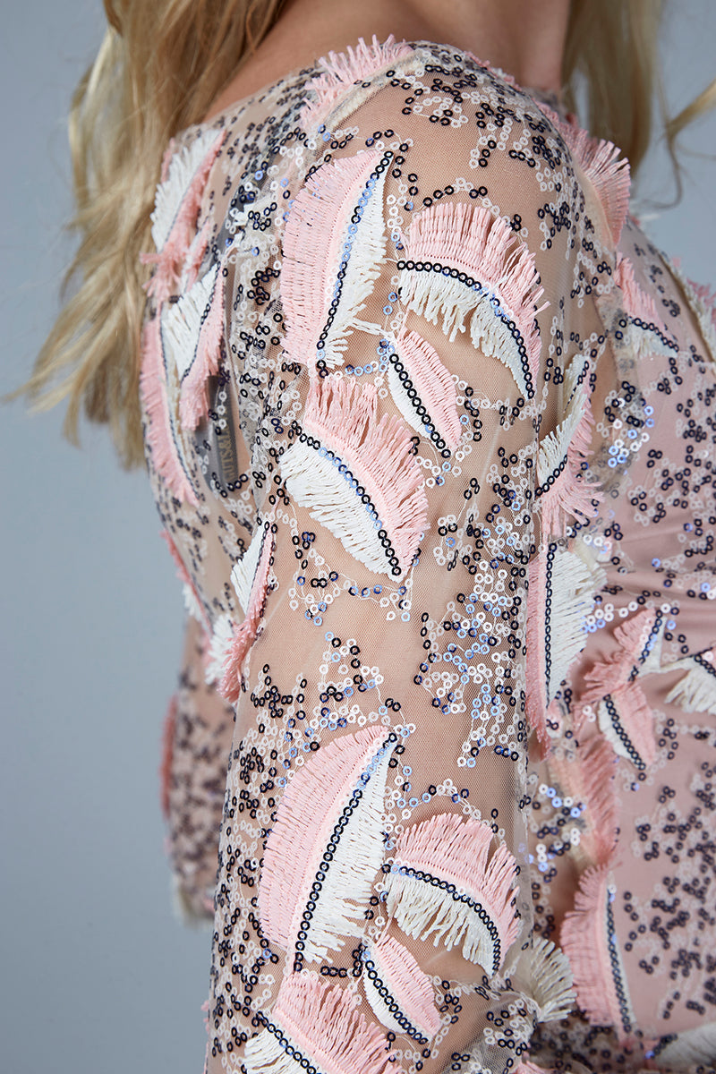 FEATHERS  &  SEQUINS  DRESS