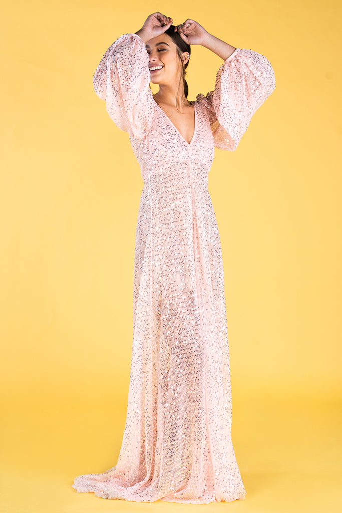 Guts and love. Vestido largo Pink emotions de la colección primavera verano 2020 Underneath the star