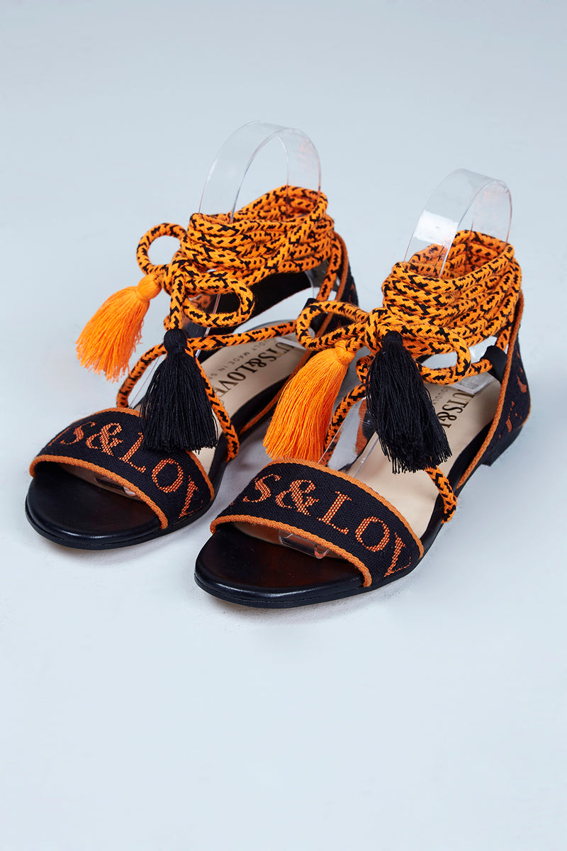 ORANGE  IS  THE  NEW  BLACK  GREEK  SANDALS