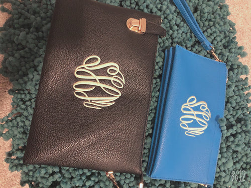 Monogram Clutch/ Crossbody/ Wristlet -Large