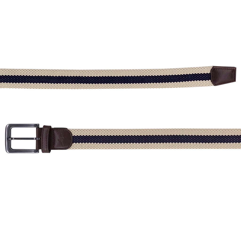 B Scott Performance Stretch Belt (Off White / Navy)