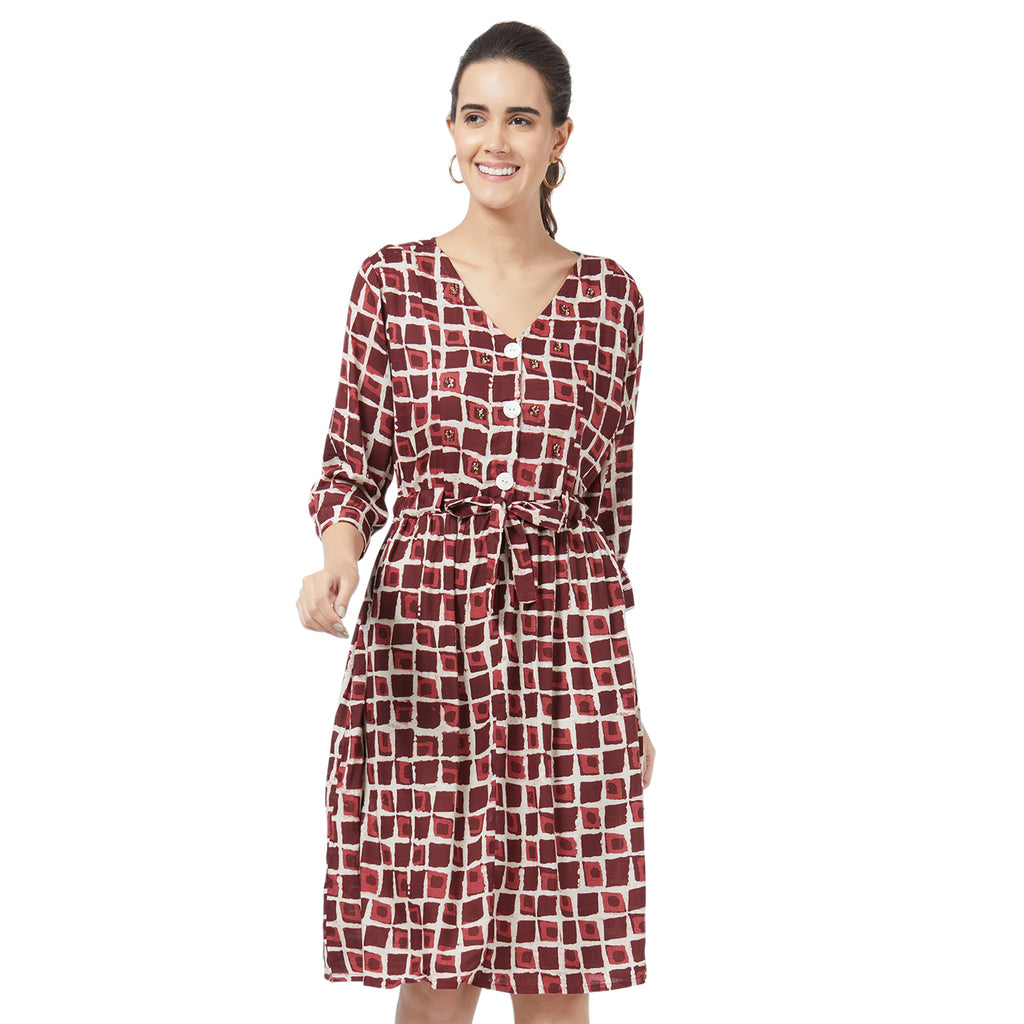 Maroon printed Dress with Embroidery  & self fabric belt