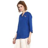Blue Solid Top with Embroidery