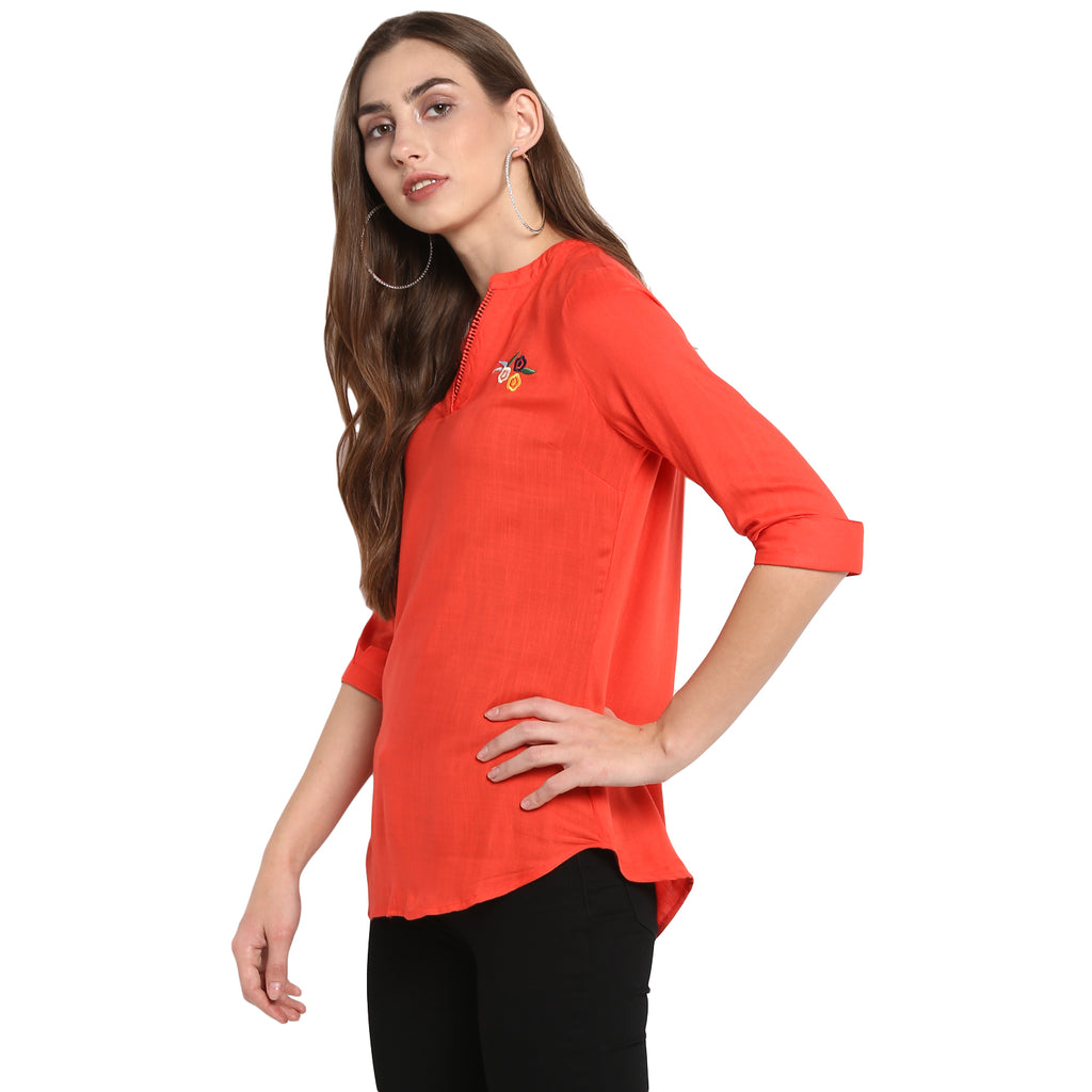 Red Solid Top with Embroidery