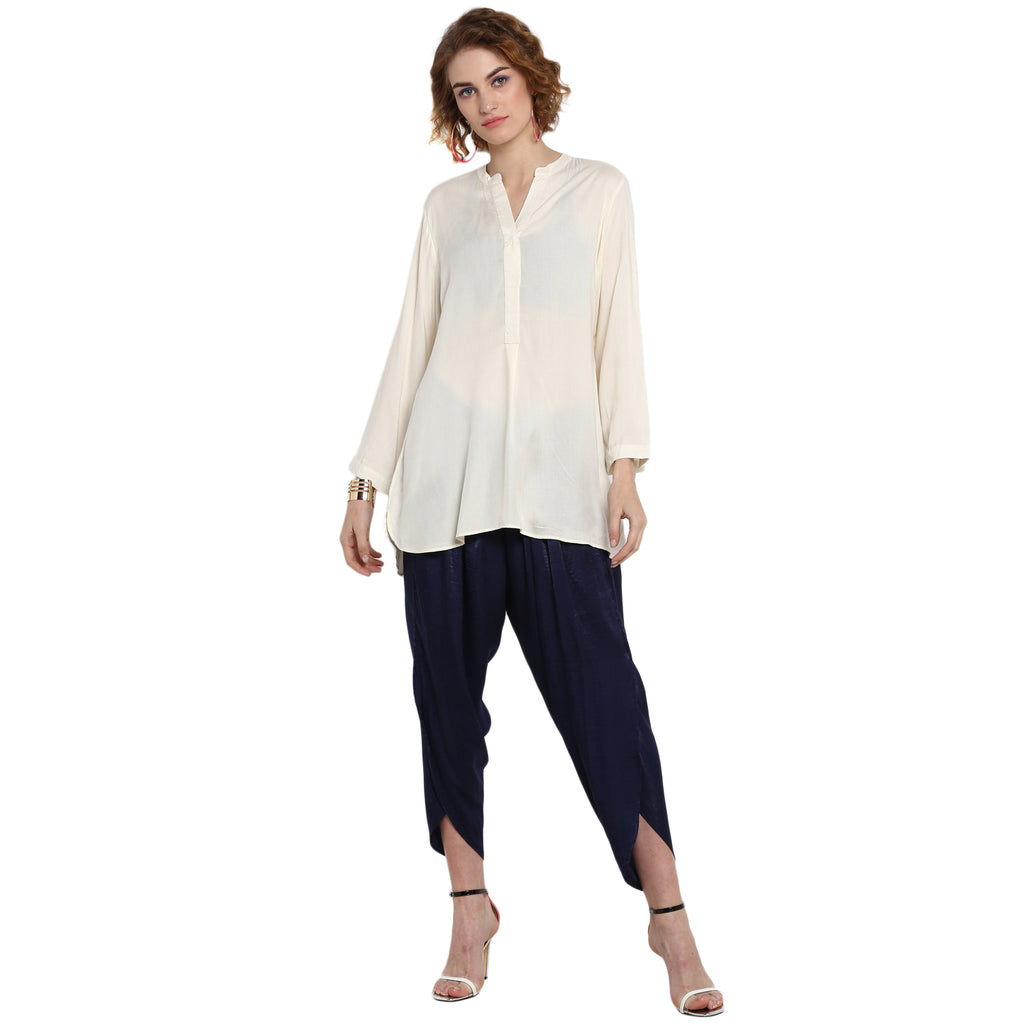 OffWhite Solid Tunic with concealed Placket
