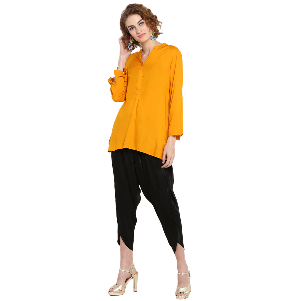 Mustard Solid Tunic with concealed Placket