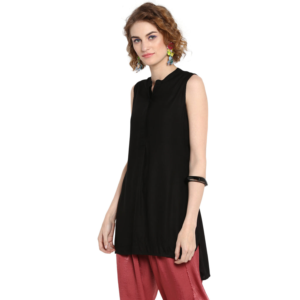 Black Front Pleated Solid Top