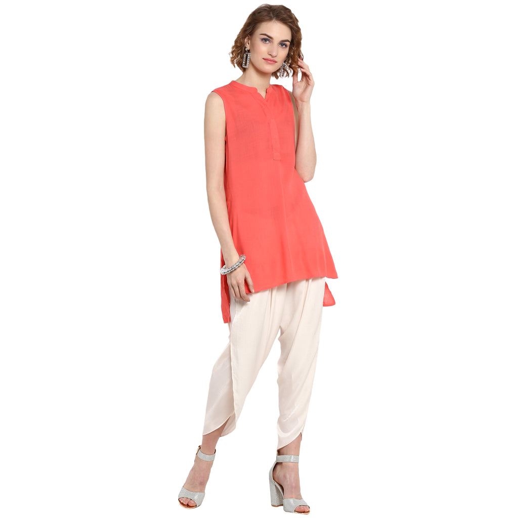 Peach Front Pleated Solid Top