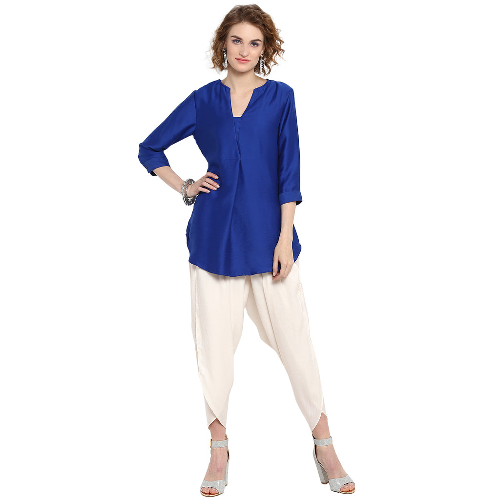 Blue Solid Overlapped Tunic
