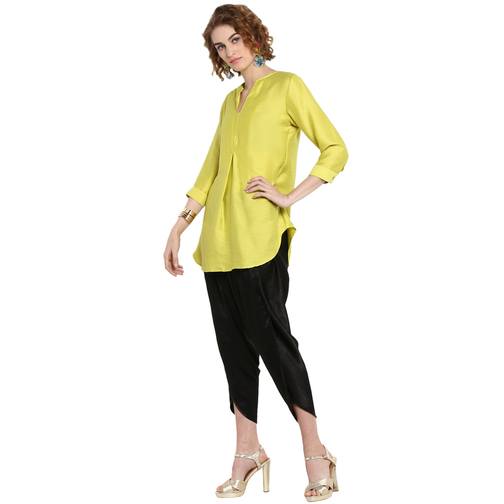 Lime Solid Overlapped Tunic