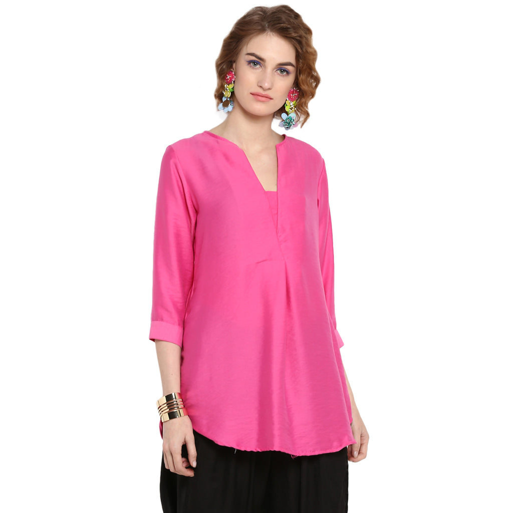 Pink Solid Overlapped Tunic