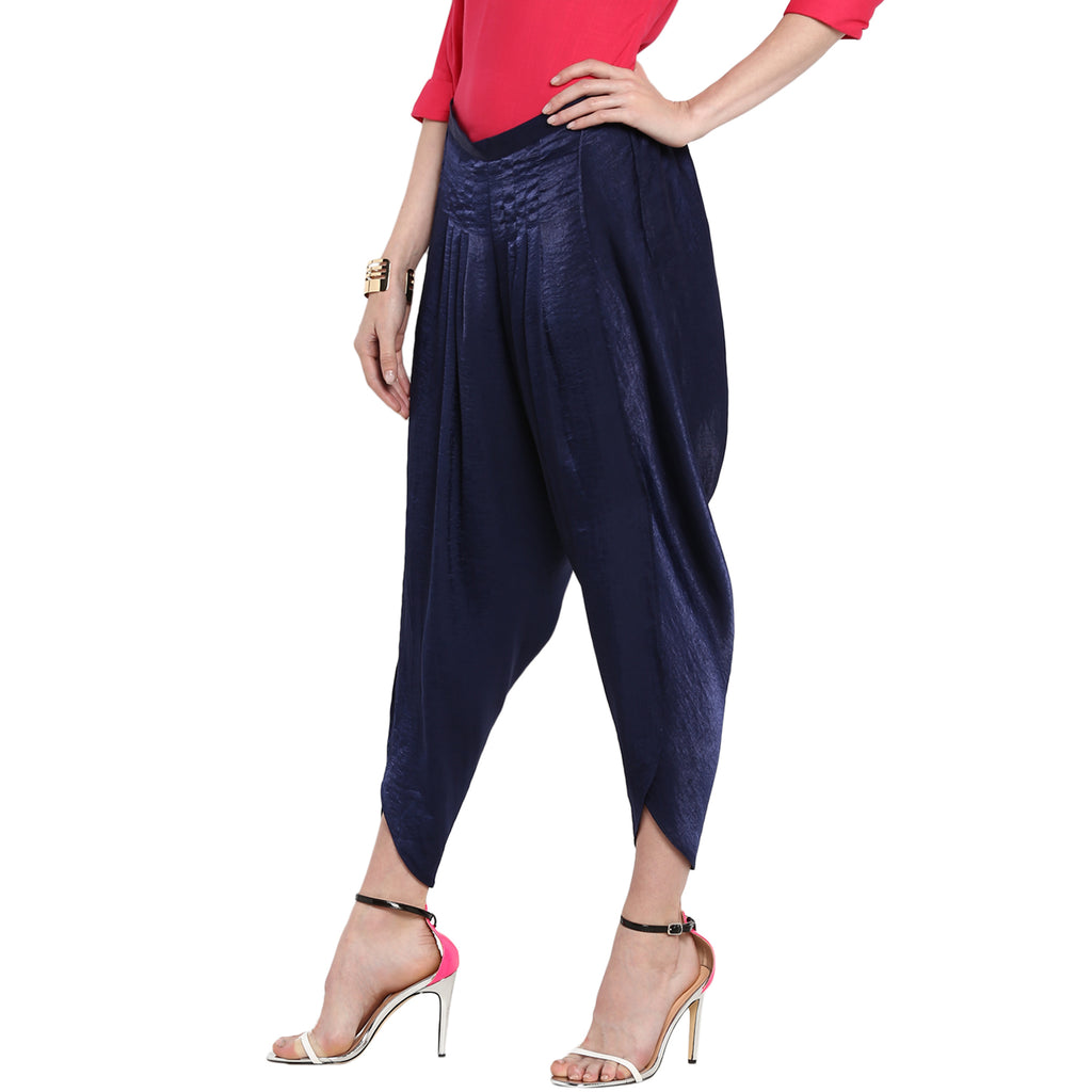 Navy High waist Solid Dhoti