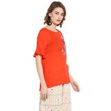 Orange Solid Top With Embroidery