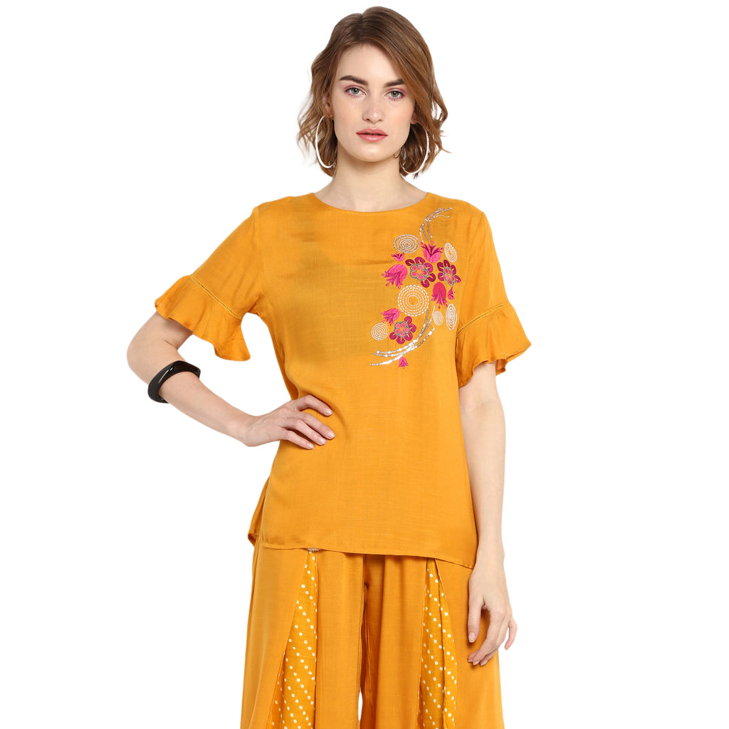 Yellow Solid Top With Embroidery