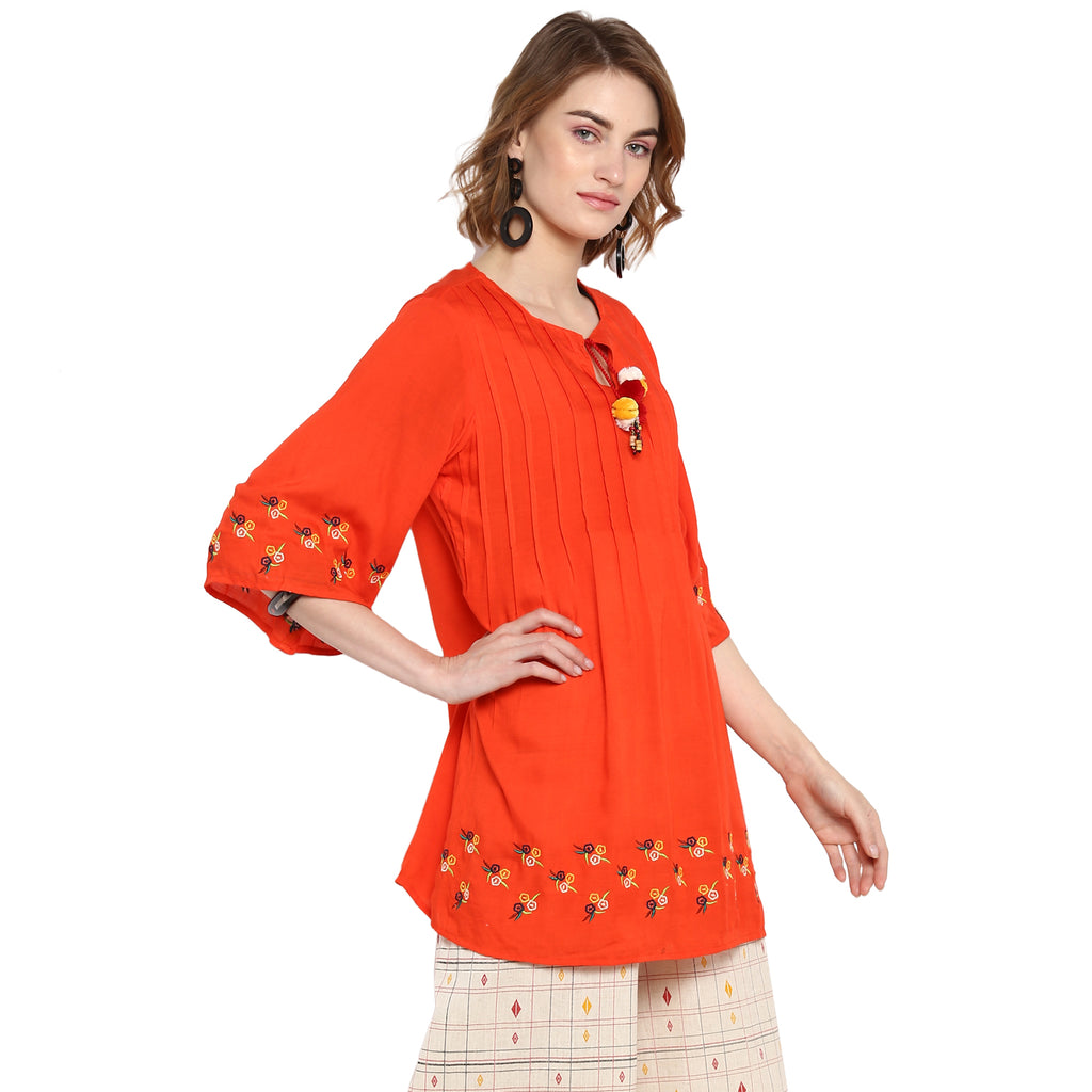 Orange Solid Bell Sleeve Embroidered Blouse