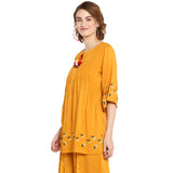 Yellow Solid Bell Sleeve Embroidered Blouse