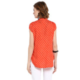 Orange Cap Sleeved Polka print top