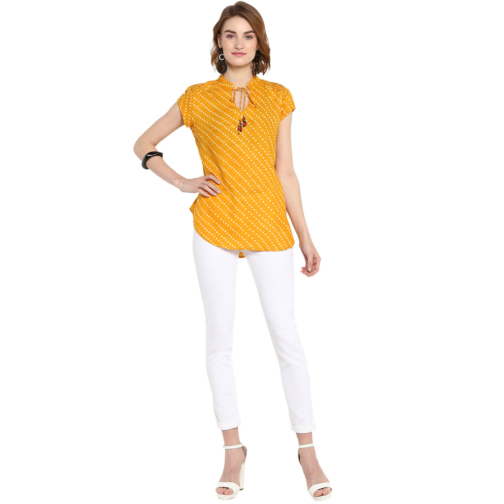 Yellow Cap Sleeved Polka print top