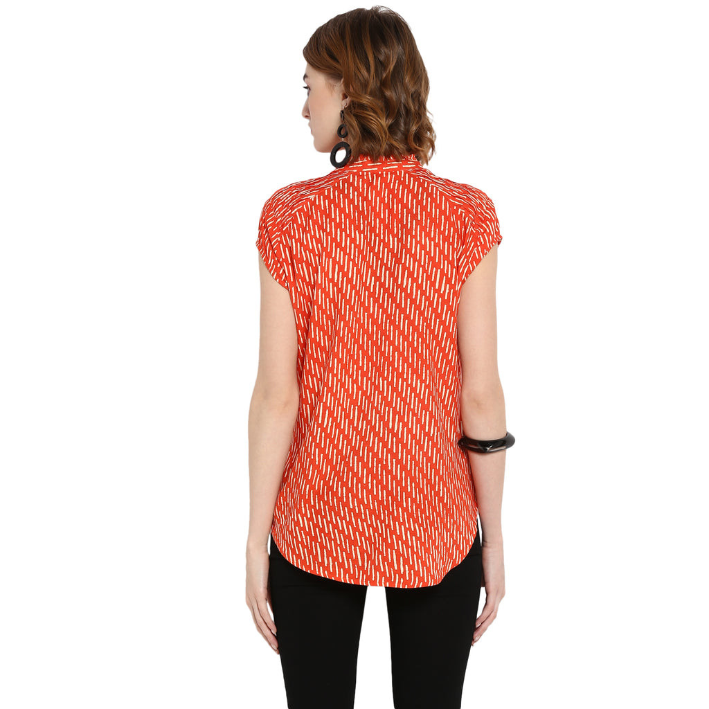 Orange Cap Sleeved Printed Top