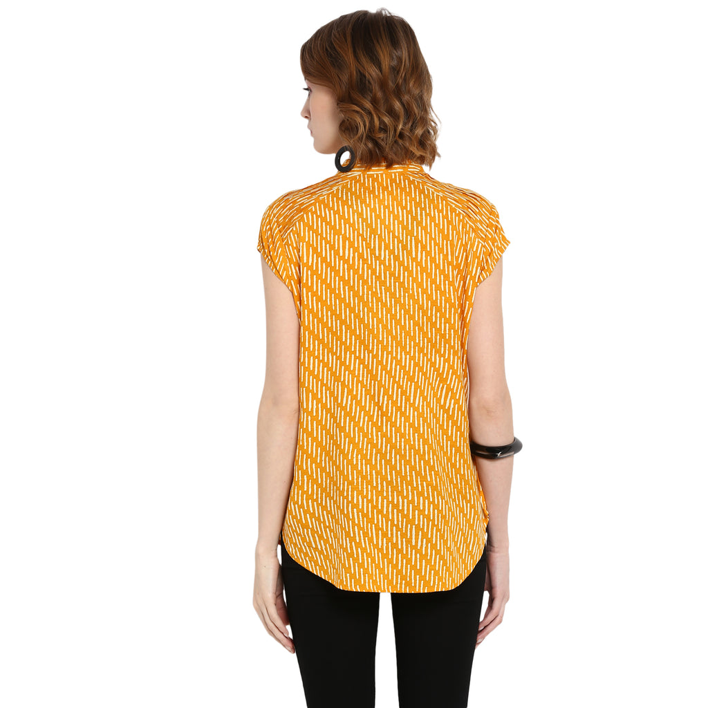 Yellow Cap Sleeved Printed Top