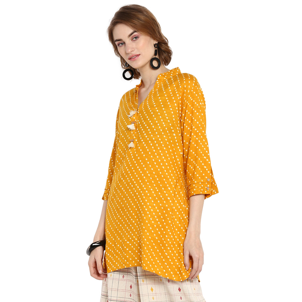 Yellow Polka print tunic