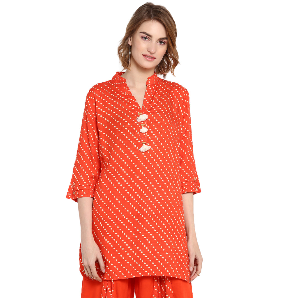 Orange Polka print tunic