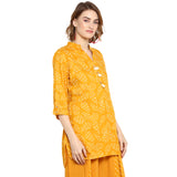 Yellow Leaf printed sheath Tunic