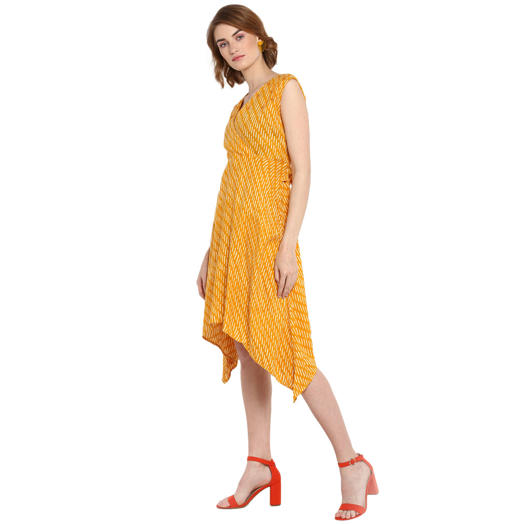 Yellow Front tie up printed wrap dress