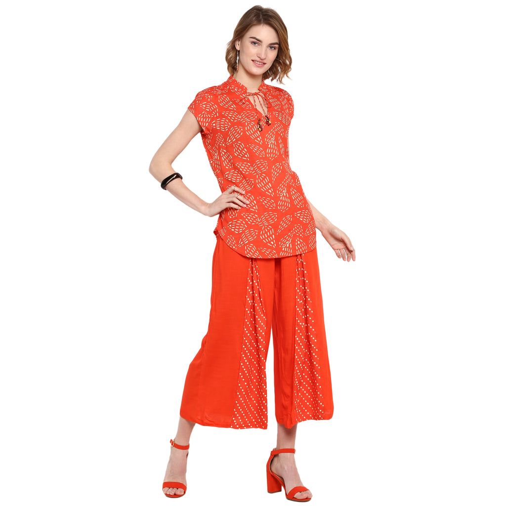 Orange Printed Culottes