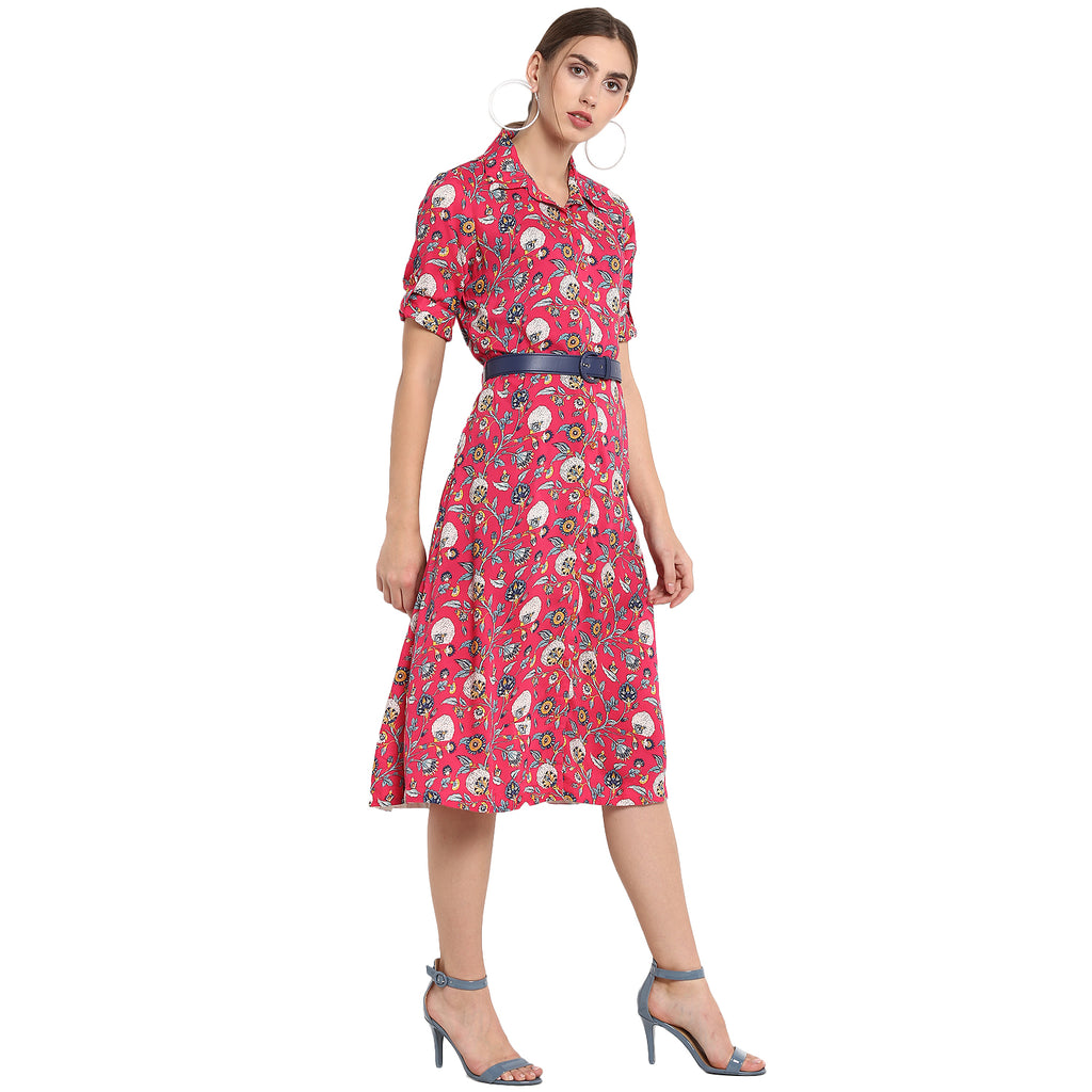 Pink Printed Shirt Dress With Attached Belt