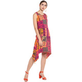 Pink Printed Dress With Assymetric Hem