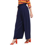 Navy Solid Palazzos With Attached Belt