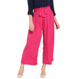Pink Solid Palazzos With Attached Belt
