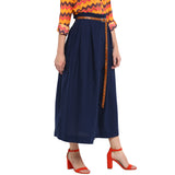Navy Paper Bag Waist Skirt With Studded Belt