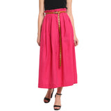 Pink Paper Bag Waist Skirt With Studded Belt
