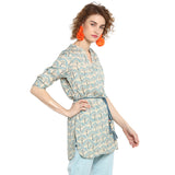 Printed Tunic With Braided Belt