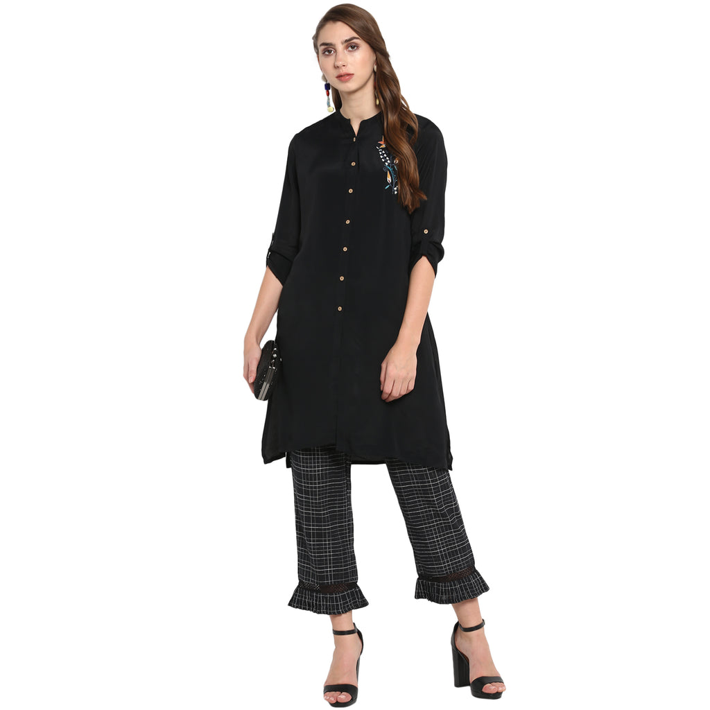 Black Long Tunic with front embroidery