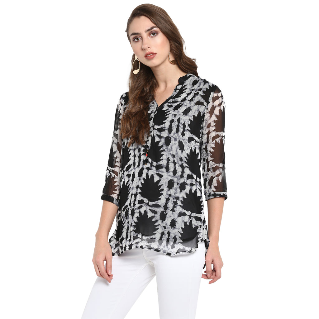 Printed georgette tunic with attached lining