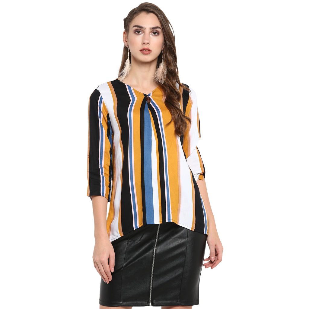 Multi stripe print top