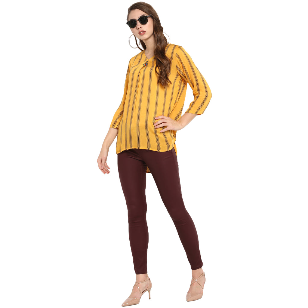 Mustard stripe print top