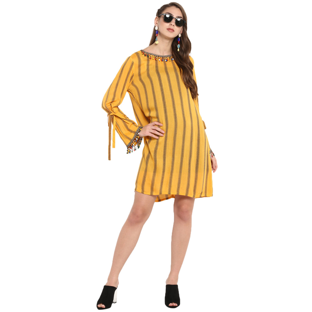 Mustard stripe sheath dress