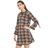 Black printed checks sheath dress