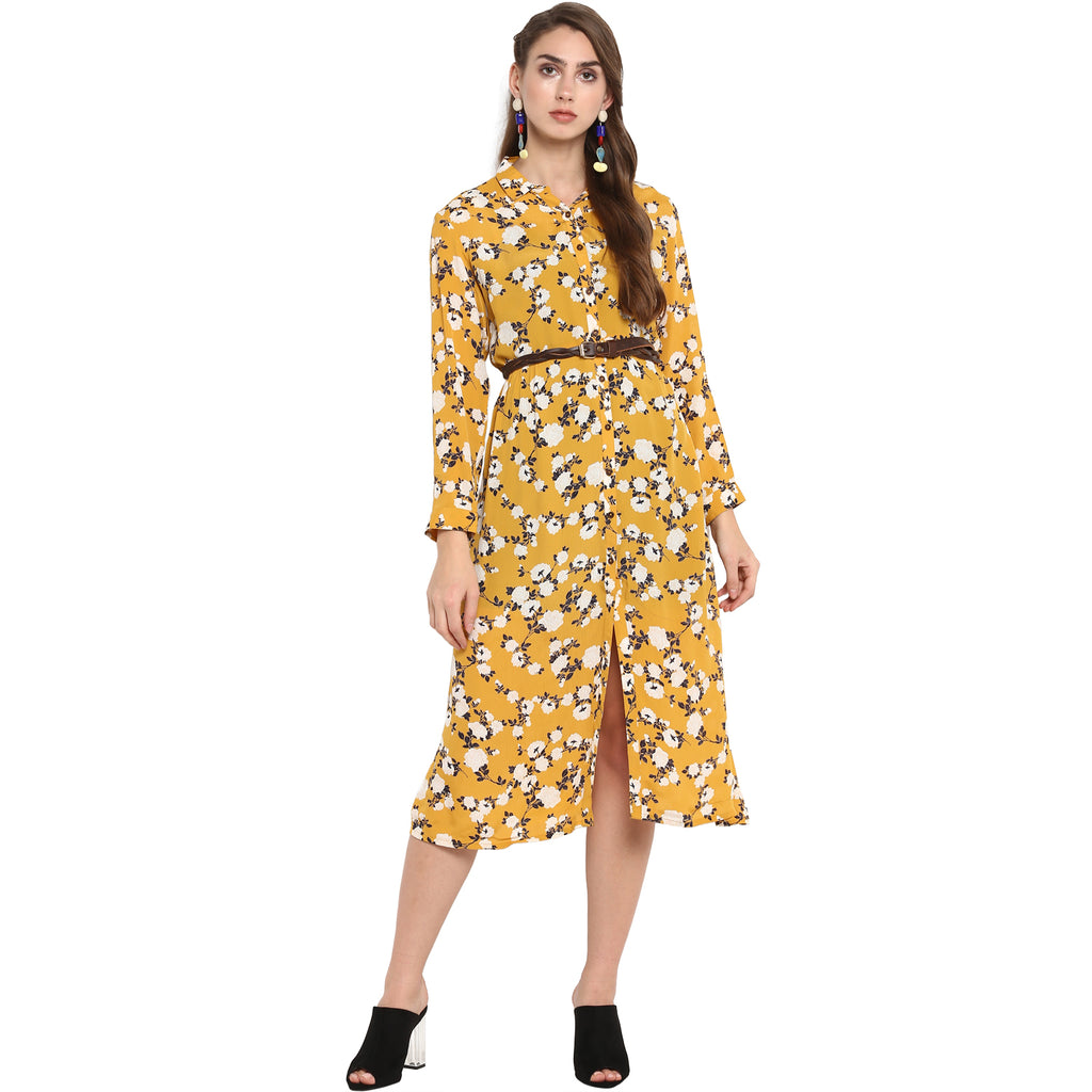 Mustard floral print shirt dress with belt