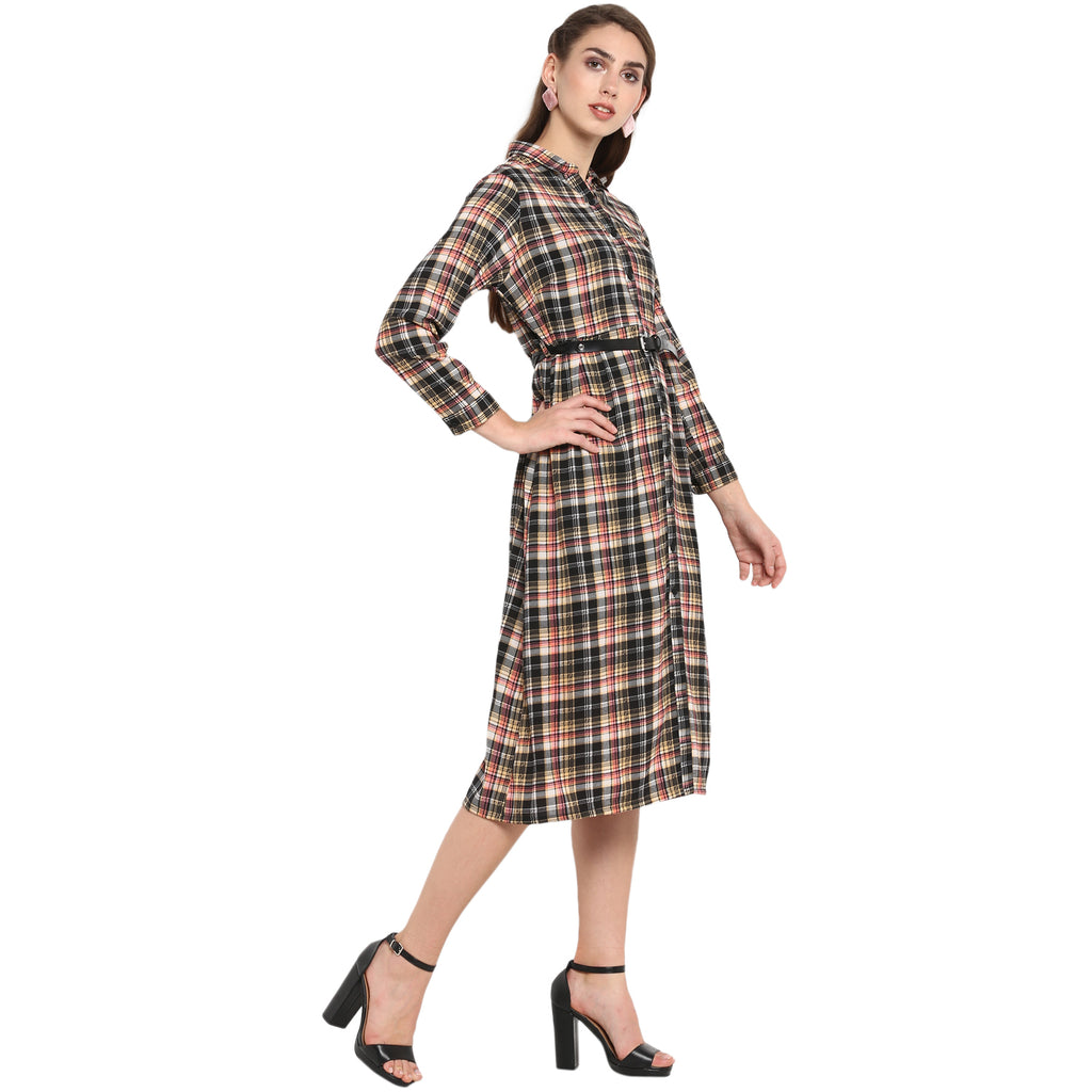 Black Printed checks shirt dress with belt