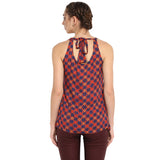 Blue Printed Tank Top With Back Knot