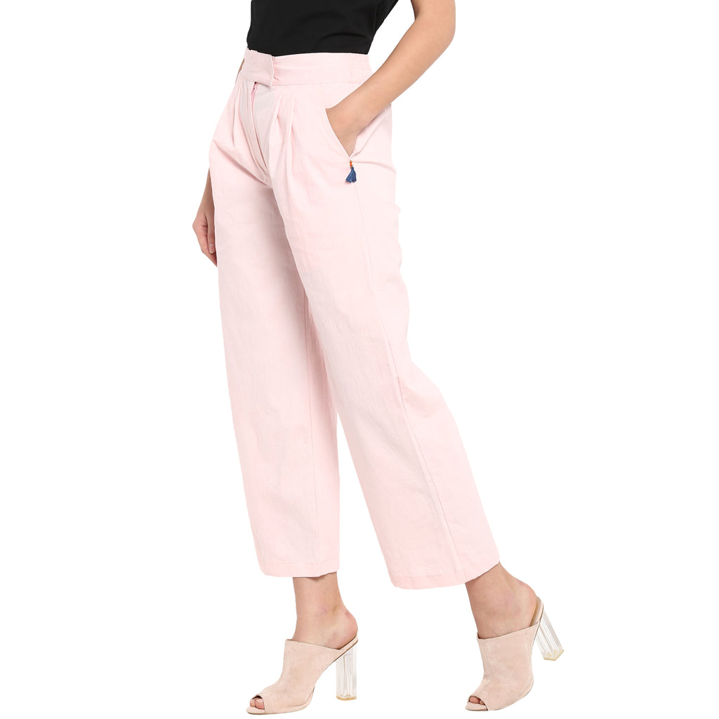 Solid pink palazzos with a black blouson