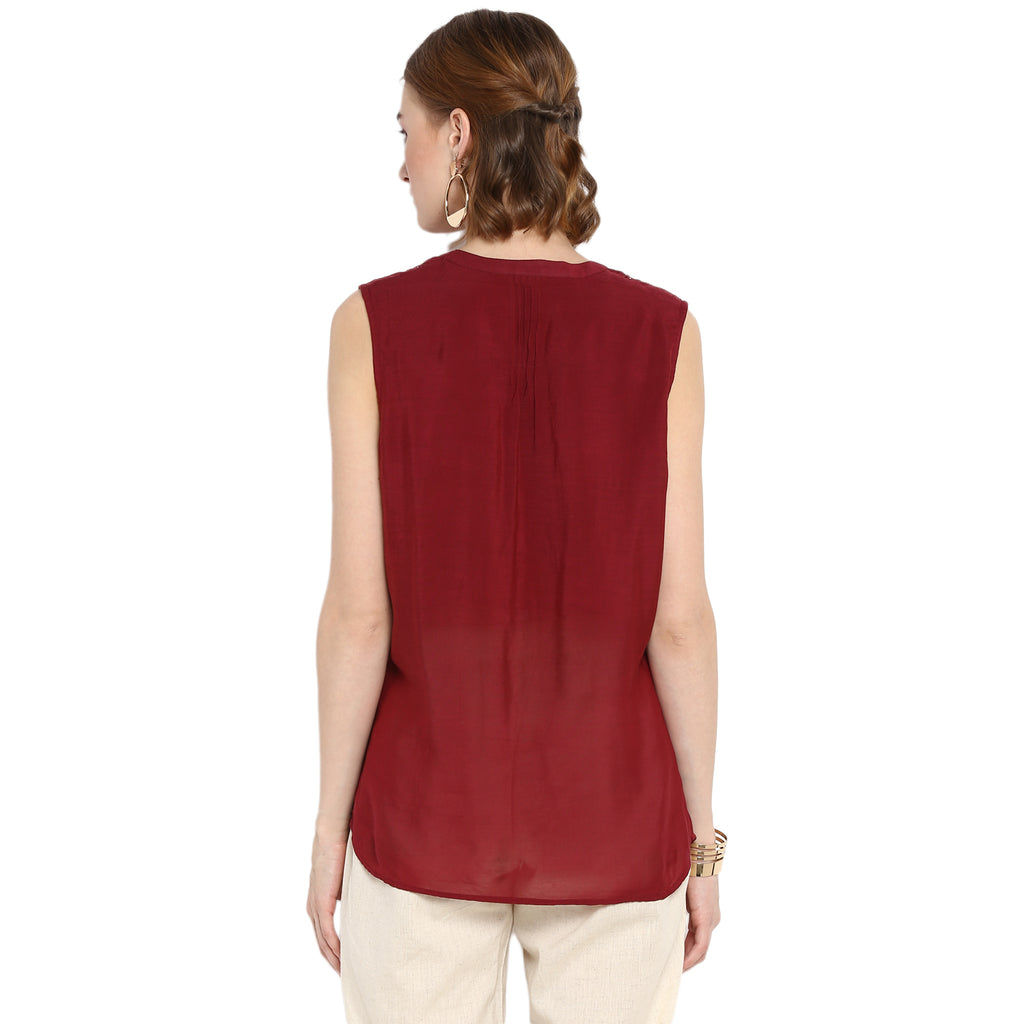 Solid Maroon Top With Lace Details