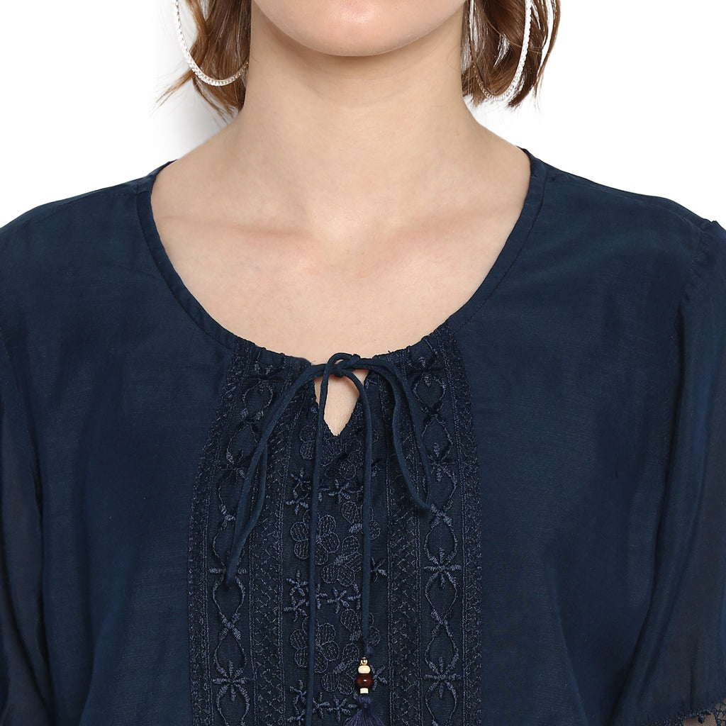 Solid Navy Blouse